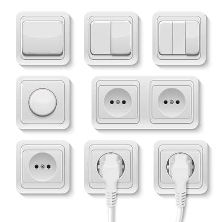 Set of realistic plastic power sockets and switches isolated on white. Vector illustration.