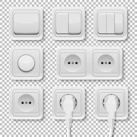 sockets: Set of realistic plastic power sockets and switches.  Isolated. Vector illustration.