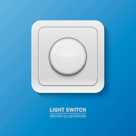 dimmer: Background with realistic light switch . Vector  illustration.