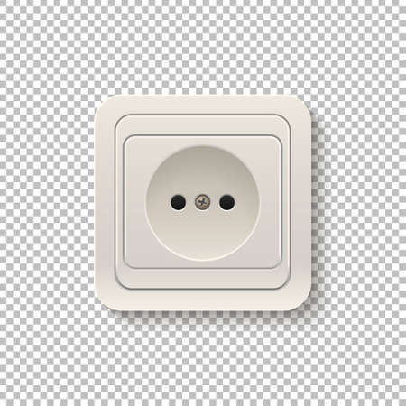 plactic: Realistic plastic power socket isolated on a transparent background. Vector illustration. Illustration