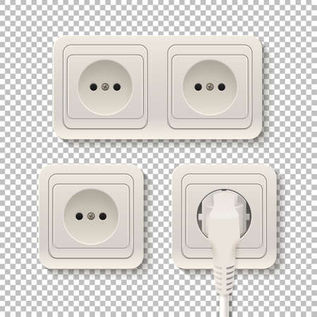 plactic: Set of realistic plastic power sockets isolated on a transparent background. Vector illustration. Illustration