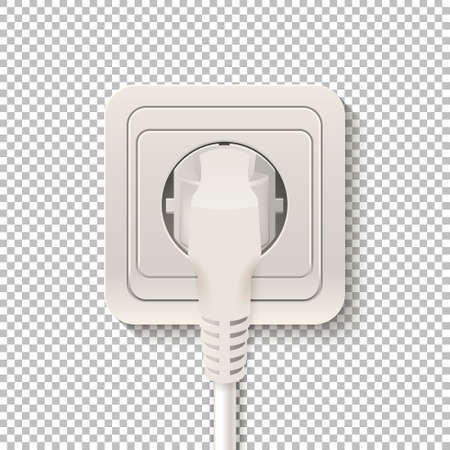 plactic: Realistic plastic power socket cable plugged isolated on a transparent background. Vector illustration.