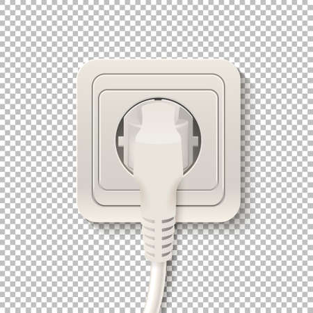 plugged: Realistic plastic power socket cable plugged isolated on a transparent background. Vector illustration.