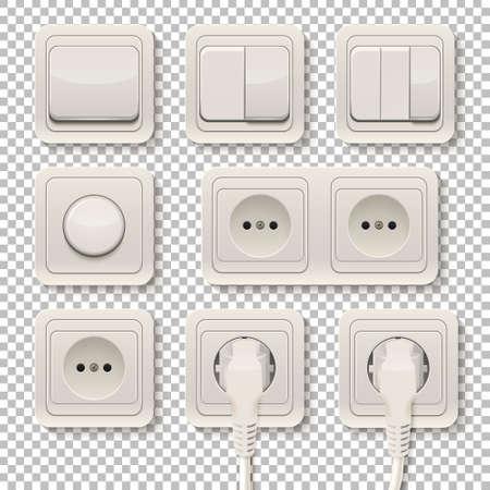 現実的なプラスチック電源ソケットおよび透明な背景上のスイッチのセット。ベクトルの図。