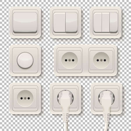 Set of realistic plastic power sockets and switches on a transparent background. Vector illustration.