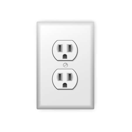 power icon: Realistic plastic power socket isolated on white. Vector illustration. Illustration
