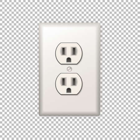 wall socket: Realistic plastic power socket isolated on a transparent background. Vector illustration. Illustration