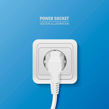 plugged: Background - power socket with cable plugged. Vector  illustration.