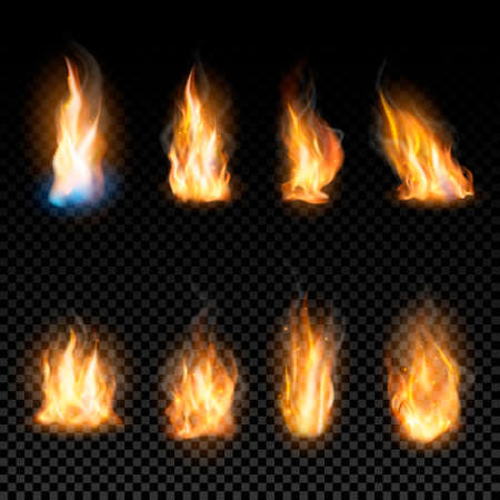 Set of realistic fire flames on a transparent background. Vector illustration.