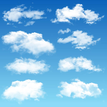 Set of realistic clouds. Vector illustration.