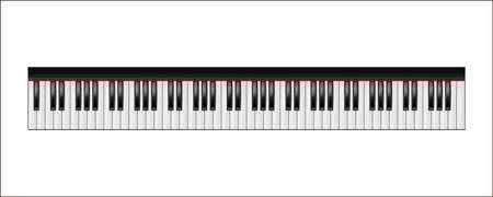 clavier: Realistic piano keyboard, 88 keys, isolated on a white background.  Vector illustration. Illustration