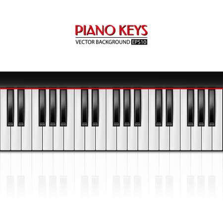 Background with realistic piano keys. Piano design, piano web, piano art, piano app. Vector illustration.