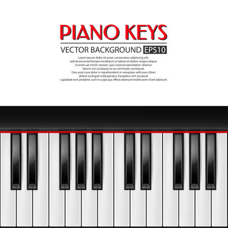 Background with realistic piano keys. Piano design, piano web, piano art, piano app, piano background, piano keys, music background. Vector illustration.