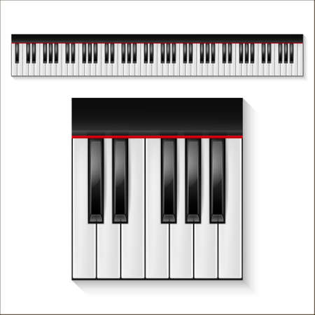 Realistic piano keys isolated on a white background. Octave. Piano set, piano design, piano web, piano art, piano app, piano icon, piano keys, music icon. Vector illustration.
