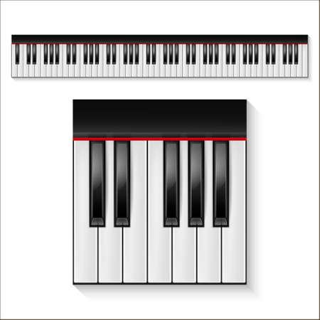 teclas de piano más realista aislado en un fondo blanco. Octava. conjunto de piano, diseño de piano, el piano web, el arte del piano, piano de aplicación, icono de piano, teclas de piano, icono de la música. Ilustración del vector.