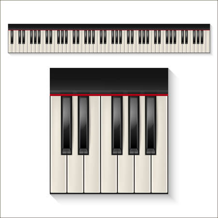clavier: Realistic piano keys isolated on a white background. Octave. Piano set, piano design, piano web, piano art, piano app, piano icon, piano keys, music icon. Vector illustration.