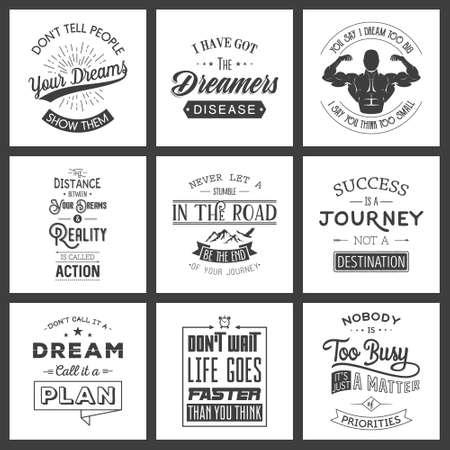 old business man: Set of vintage motivation typographic quotes. Vintage typography set, vintage typography design, vintage typography art, vintage typography label, vintage typography icon, vintage typography print for t-shirt, retro typography. Vector illustration.