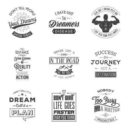 sticker design: Set of vintage motivation typographic quotes. Vintage typography set, vintage typography design, vintage typography art, vintage typography label, vintage typography icon, vintage typography print for t-shirt, retro typography. Vector illustration.