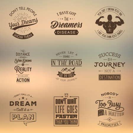 Set of vintage motivation typographic quotes. Vintage typography set, vintage typography design, vintage typography art, vintage typography label, vintage typography icon, vintage typography print for t-shirt, retro typography. Vector illustration. Vetores