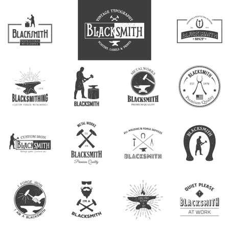 Schmied. Set Vintage Typografie Poster, Etiketten und Drucke. Grunge-Effekt kann bearbeitet oder entfernt werden. Jahrgang Typografie Hintergrund, Jahrgang Typografie Design, vintage Typografie Kunst, vintage Typographie Etikett, vintage Typographie Symbol, vintage typogra