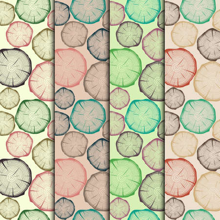 blockhouse: Set of seamless patterns with tree rings. Vector EPS10 illustration.