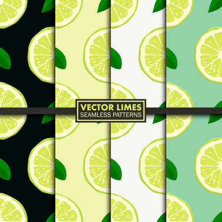 Set of seamless patterns with limes. Vector EPS10 illustration.