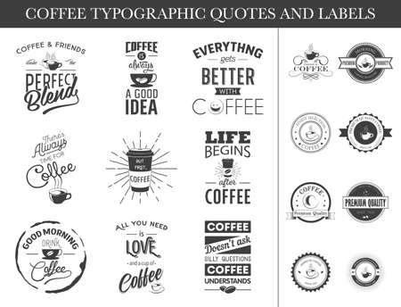 Set of typographic quotes and labels. Coffee labels and quotes set, coffee labels and quotes art, coffee labels and quotes eps, coffee labels and quotes image, coffee labels and quotes logo, coffee labels and quotes sign, coffee labels and quotes silh