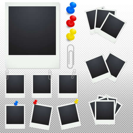 polaroid frame: Set of polaroid photo frames with clips and thumbtacks on a transparent background. Photo frame icon vector, isolated vector photo frame, photo frame image, photo frame template, photo frame design.Vector EPS10 illustration.