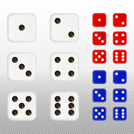 Set of dices on a transparent background. Vector EPS10 illustraion.