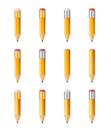 sharp: Yellow wooden sharp pencils isolated on a white background. Vector EPS10 illustration.