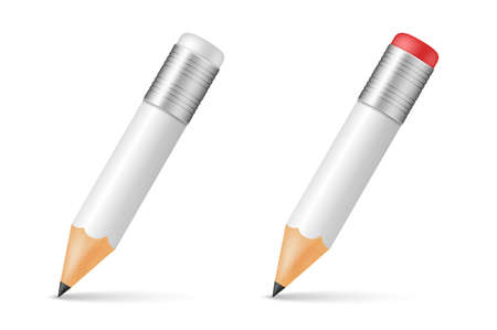 sharp: White wooden sharp pencils isolated on a white background. Vector EPS10 illustration.