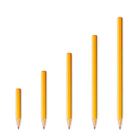 Yellow wooden sharp pencils isolated on a white background. Vector illustration.