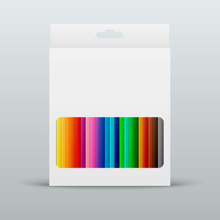 pencil point: Vector colored pencils in the box. Illustration