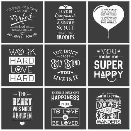 couple in love: Set of vintage love typographic quotes.