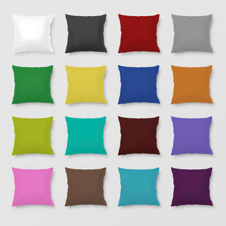 pillows: Set of realistic colored pillows. Illustration