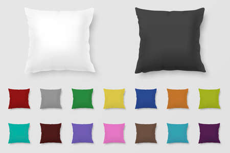 headboard: Set of realistic colored pillows. Illustration