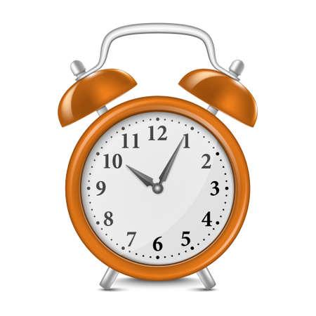 awakening: Alarm clock isolated on white.