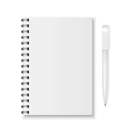 spiral notebook: Blank realistic spiral notebook and pen isolated on white background.