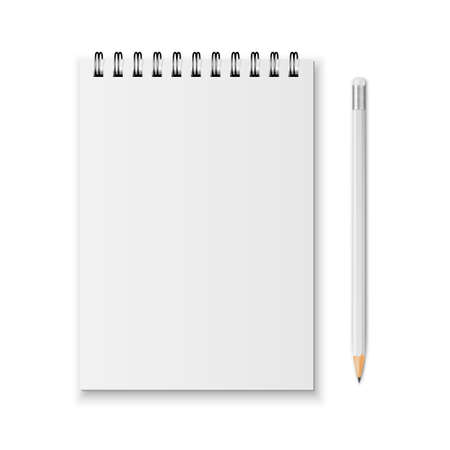 spiral notebook: Blank realistic spiral notebook and pencil isolated on white background.