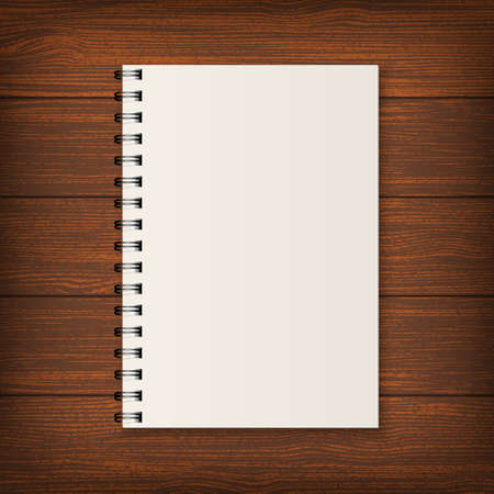 Blank realistic spiral notebook on wood background. Illustration