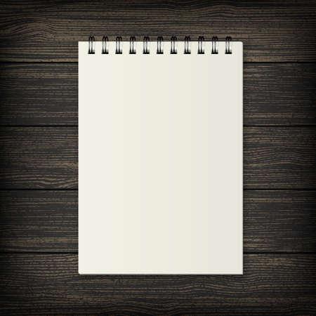 spiral notebook: Blank realistic spiral notebook on wood background. Illustration