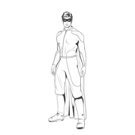 marvel: Comic superhero standing heroicly. Vector EPS8 illustration.