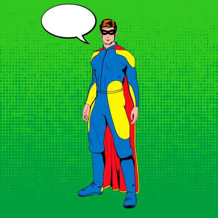 graphic novel: Comic superhero standing heroicly. Vector EPS8 illustration.