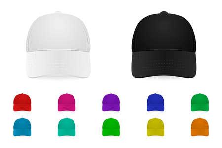 sported: Set of baseball caps. Vector EPS10 illustration.