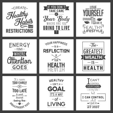 Health Typography quotes set. Grunge effect can be edited or removed.