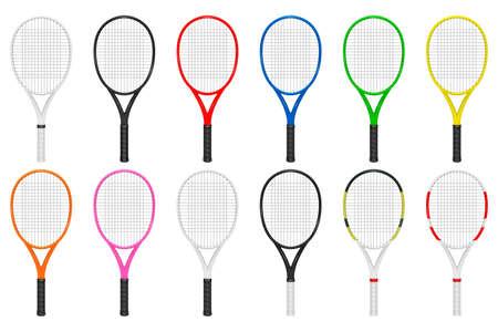 Tennis rackets set. Isolated on white background. Vector EPS10 illustration.