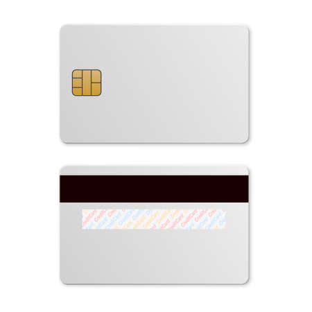personal banking: White credit card template isolated on a white background. Mockup for design.