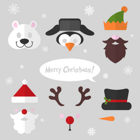 Christmas photo booth and scrapbooking vector set - polar bear, penguin, elf, Santa, deer, snowman. Retro party masks. Illustration