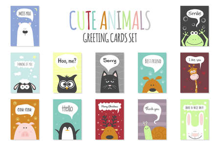 cute dog: Greeting cards set - cute animals. Vector hand drawn template for party, scrapbooking etc.