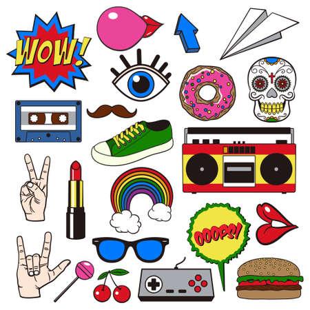 Retro patch badges. Verzameling van cartoon iconen, stickers en strepen in vintage grappige stijl. Stock Illustratie